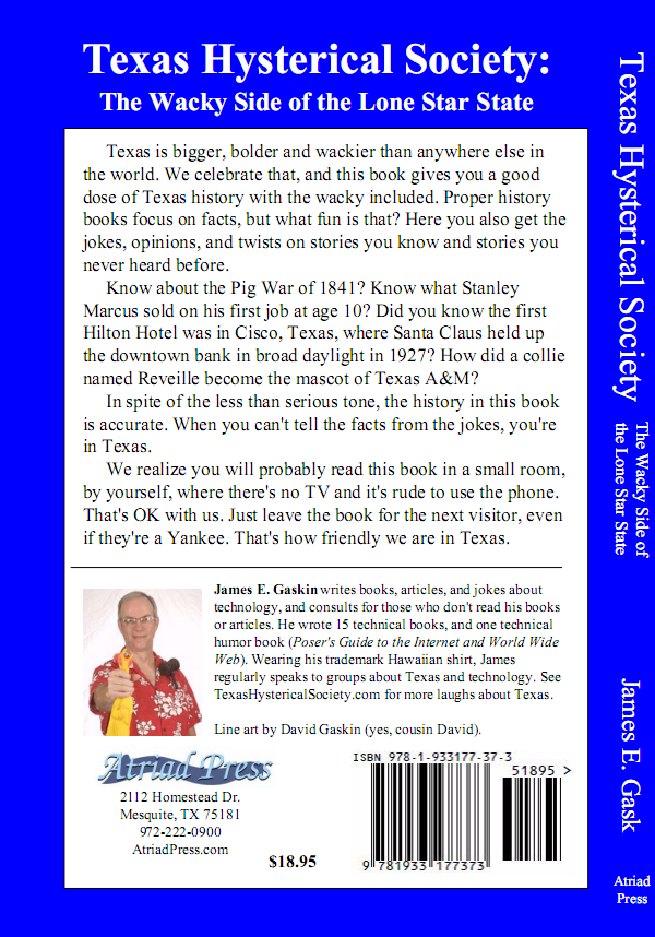Texas Hystercial Society - back cover